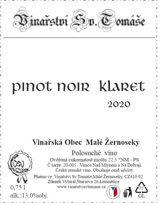Pinot Noir Klaret 2020 polosuché